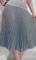 Юбка плиссе гофре солнце-клеш серый меланж габардин, фото 1