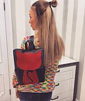 Женский модный рюкзак с красной кошкой