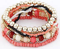 Браслет Boho комплект 7 шт. розовый/ бижутерия/ цвет розовый