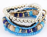 Браслет Boho комплект 7 шт. синий/ бижутерия/ цвет синий