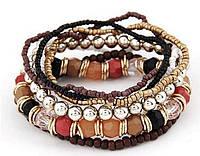 Браслет Boho комплект 7 шт. коричневый/ бижутерия/ цвет коричневый