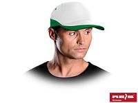Бейсболка бело-зелёная (кепка)