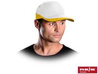 Бейсболка желто-белая (кепка)