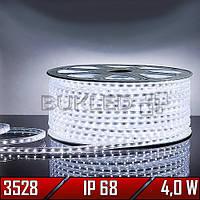 Светодиодная лента 220 В, smd 3528, БЕЛЫЙ, 4 Вт, 60 шт/м, IP 68 (N)
