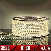 Светодиодная лента 220 В, smd 3528, ТЕПЛЫЙ БЕЛЫЙ, 4 Вт, 60 шт/м, IP 68 (N)