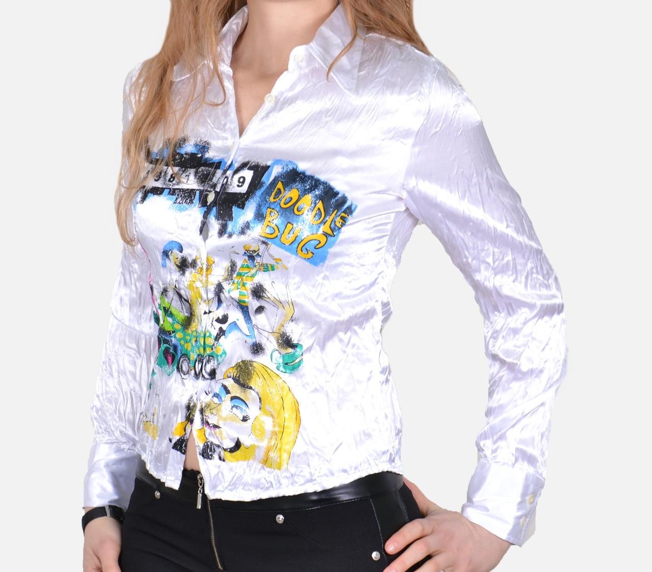 Атласная блуза с узором (арт. A1012)