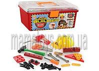Набор инструментов 2058. 41 деталь в чемодане, каска, пила, дрель