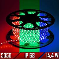 Светодиодная лента 220 В, smd 5050, RGB, 14,4 Вт, 60 шт/м, IP 68 (N)