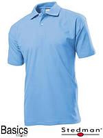 Футболка-поло мужская голубая