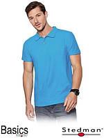 Футболка-поло мужская голубая оптом ST3000 под нанесение