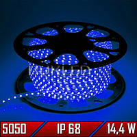 Светодиодная лента 220 В, smd 5050, СИНЯЯ, 14,4 Вт, 60 шт/м, IP 68 (N)