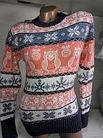 Женский вязаный свитер с совами, размер универсал (С-Л), купить оптом и в розницу