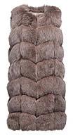Красивая женская жилетка из натурального меха песца