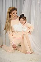 """Женский домашний махровый костюм """"Сердце"""" 2061 / нежно-розовый"""