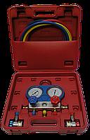 HESHITOOLS (KTG) Манометрический коллектор с шлангами и быстросъемными переходниками для заправки фреона R134a HS-C1051A HESHITOOLS