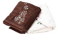 Набор махровых полотенец 50х90х2шт. Nilufer коричневое и кремовое с вышивкой