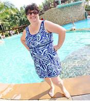 Цельный купальник платье большого размера для полных женщин