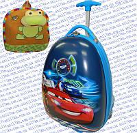 Детский пластиковый дорожный чемодан на двух силиконовых колёсах