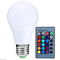 Лампа светодиодная цветная с пультом RGB Е27 5W 500LM Груша