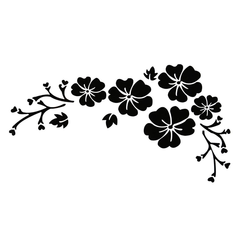 Наклейки на автомобиль - цветы черные