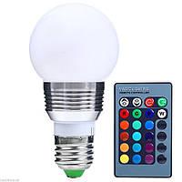 Лампа светодиодная цветная с пультом RGB Е27 5W 500LM Шар