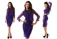 Женский стильный костюм из гипюра: блуза и юбка (3 цвета), фото 1