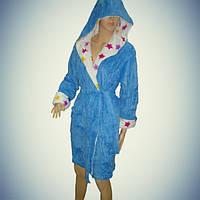 Женский халат с капюшоном - короткий - софт - Турция   pr-hj0102