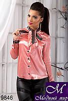 Нарядная женская персиковая блуза с кружевом (р. S, M, L) арт. 9846