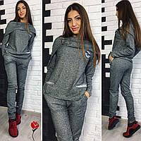 Стильный серый спортивный костюм с капюшоном и карманами. Арт-9494/77