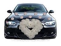 Набор на машину Сердце в розах + Розы на присосках (Красное, Белое, Розовое)
