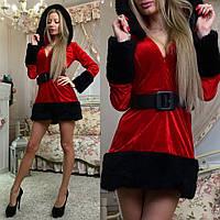 Платье Подружка Санты черный мех