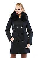 Женское трендовое зимнее кашемировое пальто 2017 с натуральным мехом песца (рр 44-52), разные цвета