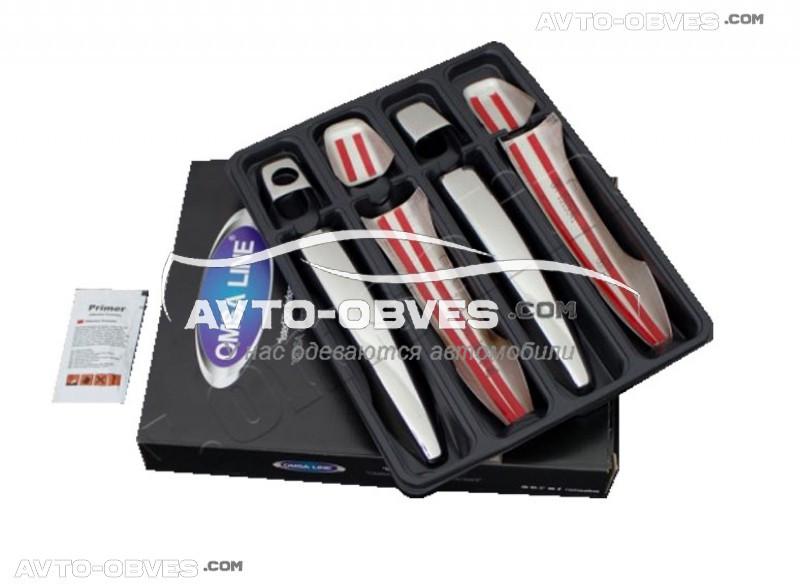 Накладки на ручки открывания дверей Peugeot 301 2012-..., 4 шт, нержавейка Carmos