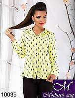 Женская блуза цвета салат с принтом поло (р.S, M, L) арт. 10039