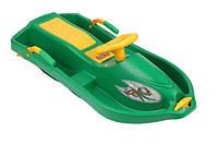 Санки с рулем Plastkon Снежная лодка зеленые