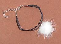 Кожаный браслет с натуральным белым мехом