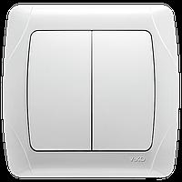 Выключатель двойной белый Viko (Вико) Carmen (90561002)