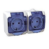 SHNEIDER ELECTRIC CEDAR PLUS IP 44 Розетка с заземлением и защитной шторкой + выключатель одноклавишный  Белая
