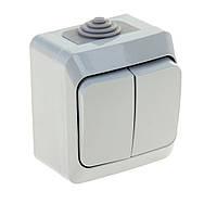 SHNEIDER ELECTRIC CEDAR PLUS IP 44 Выключатель 2-х клавишный Серый