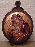 Деревянная баклага С изображеним Иисуса и Богородицы Нач ХХ-го века