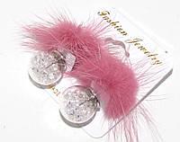 Серьги матрешки с кристаллами и натуральным розовым мехом