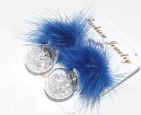 Серьги матрешки с кристаллами и натуральным синим мехом
