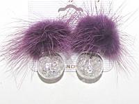 Серьги матрешки с кристаллами и натуральным фиолетовым мехом
