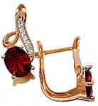 Серьги ХР позолота+родий,камень:белый и бордовый циркон ; высота серьги 1,8 см. ширина 7 мм.