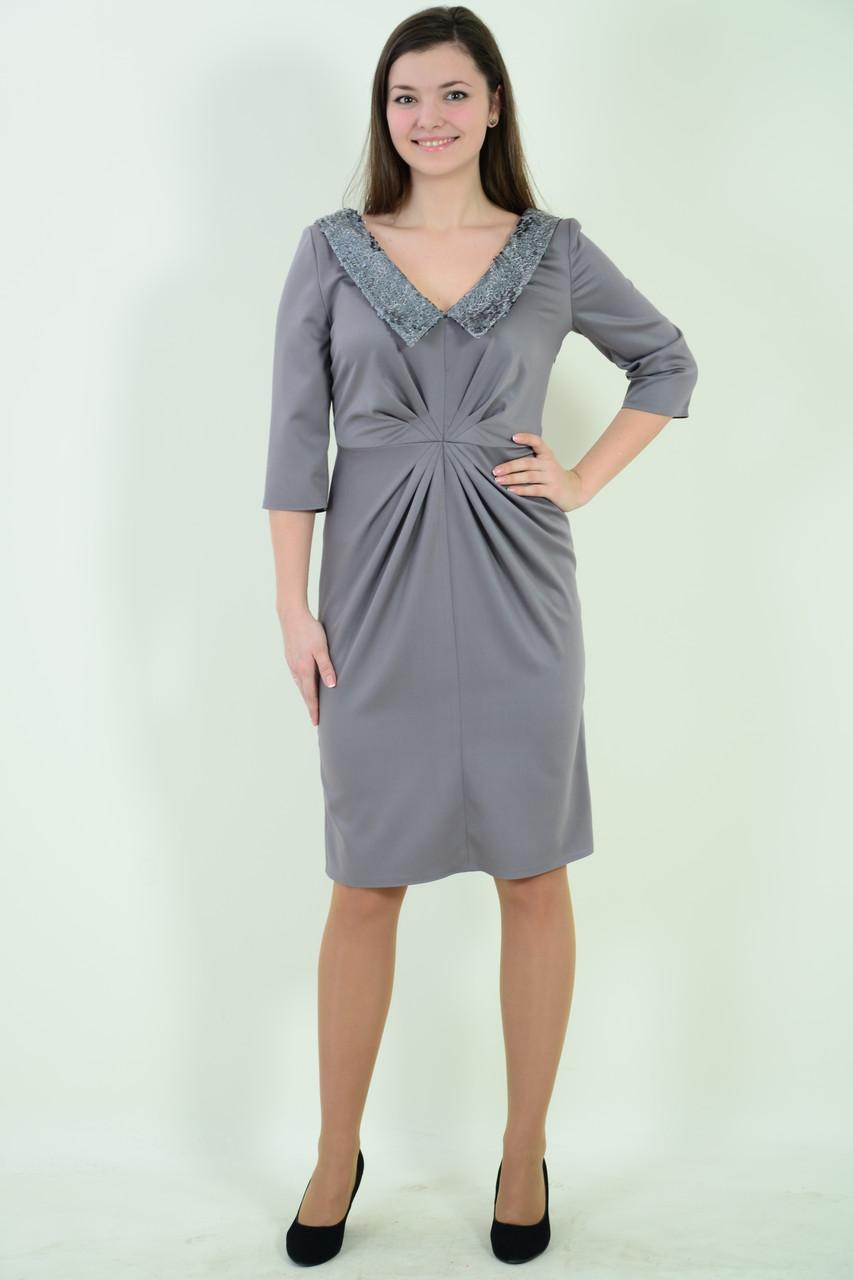 Платье вечернее с паеткой сталь серый Пл 151