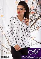 Стильная женская белая блуза в бантики (р.S, M, L) арт. 10044