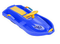 Санки с рулем Plastkon Снежная лодка синие