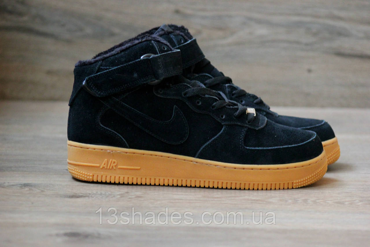 5f7707f3 Кроссовки мужские зимние Nike Air Force High Winter ( Найк Аир ) чёрный