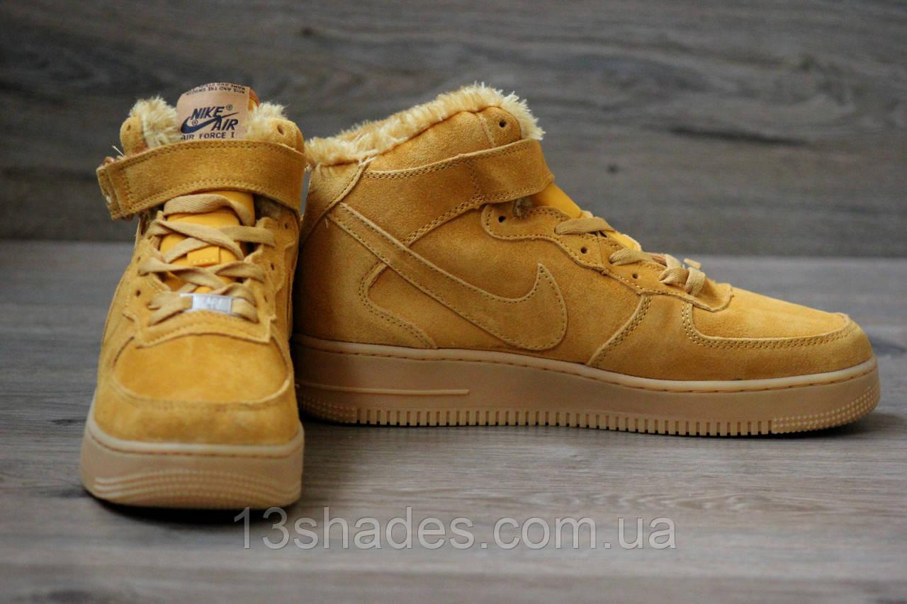 97fd4680 Кроссовки мужские зимние Nike Air Force High Winter ( Найк Аир ) жёлтые, ...