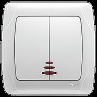 Выключатель двойной с подсветкой белый Viko (Вико) Carmen (90561050)